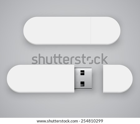 Vector template of white blank USB flash drive , good for placing logo and identify set - stock vector
