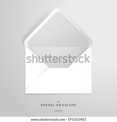 Vector template open envelope. Realistic shadows. - stock vector
