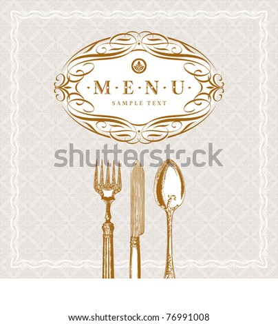 Vector template ornate  menu with vintage cutleries (cutleries with clipping mask) - stock vector