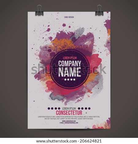 Vector template poster with watercolor paint abstract background - stock vector