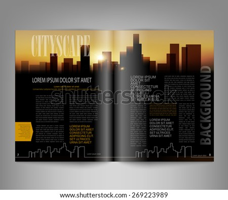 vector template print edition of the magazine with night city - stock vector