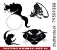 Vector template tattoo: cats on different topics - stock vector