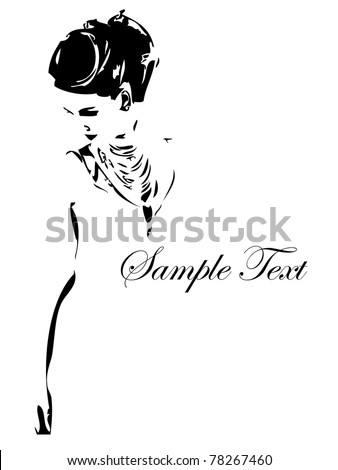 Vector template. The stylish girl on a white background. - stock vector