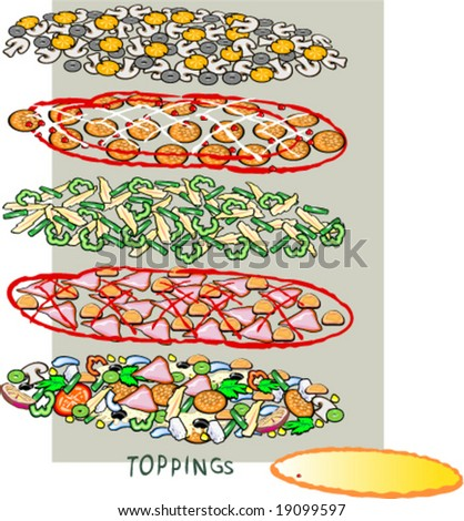 Vector template to create a pizza. Set 2. Also the illustration of cook holding pizza is available in gallery - stock vector