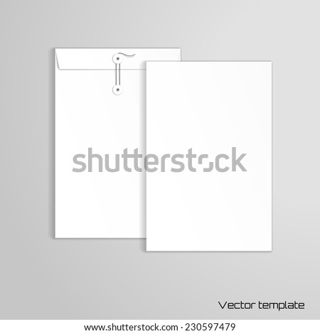Vector template. Vertical big envelope with buttons. Realistic shadows. - stock vector