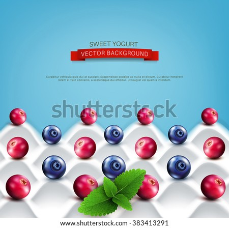 vector  template:  wave yogurt with berries (cranberries, blueberries) and mint leaves on a blue background - stock vector