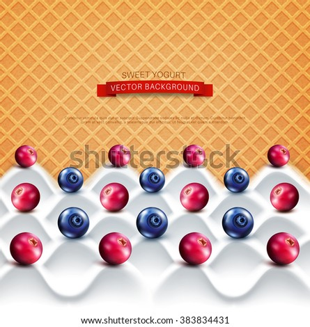 vector  template:  wave yogurt with berries (cranberries, blueberries)  on a background of sweet waffles - stock vector