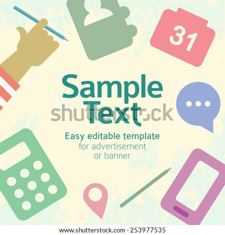 Vector template with flat stylized objects on organization theme. Easy editable template for advertisement or banner. Square composition, textured background. - stock vector