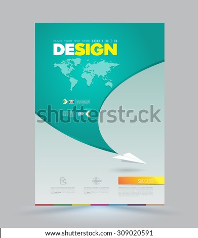 Vector template with paper origami airplane. Can be used for brochures, banners, covers, magazines, leaflet design, travel posters. - stock vector