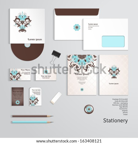 Vector templates. Beautiful floral pattern in vintage style. Simple delicate ornament. Envelope, cards, business cards, tags, disc with packaging, magnet, pencils, eraser, clamp. Dimensions are given - stock vector