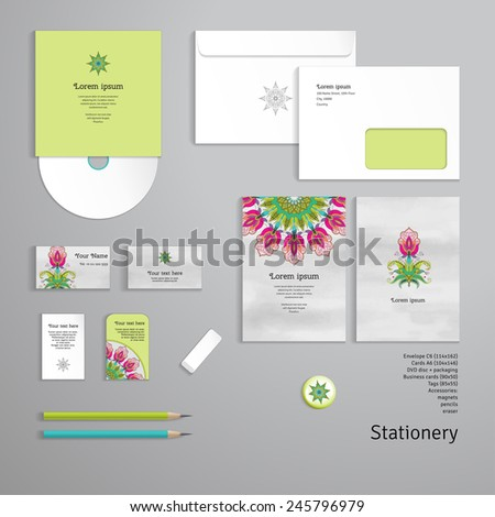 Vector templates. Beautiful oriental fantastic flower. Watercolor hand drawing. Envelope, cards, business cards, tags, disc with packaging, pencils, eraser. - stock vector