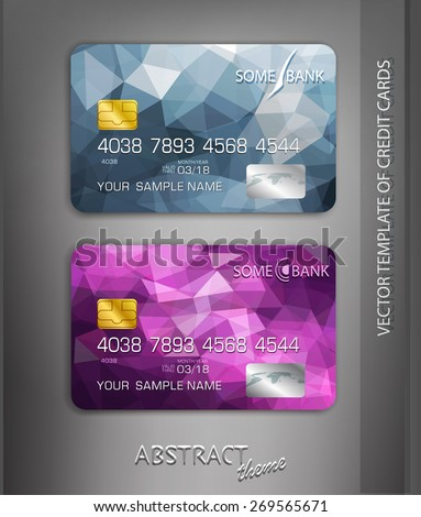 vector templates credit cards with abstract pattern - stock vector