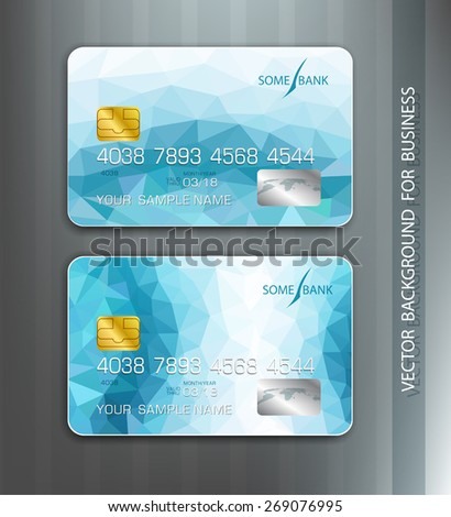 vector templates credit cards with blue abstract pattern - stock vector