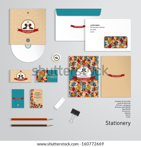 Vector templates. Geometric pattern. Emblem with two horses and ribbon for your text. Envelope, cards, business cards, tags, disc with packaging, magnet, pencils, eraser, clamp. Dimensions are given. - stock vector