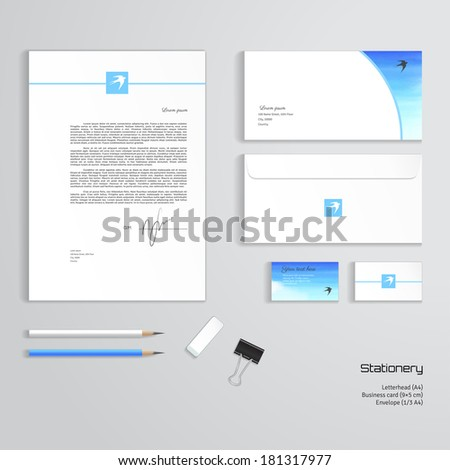 Vector templates handmade watercolor white cloud stock vector vector templates handmade watercolor white cloud sky and swallow letterhead envelope reheart Choice Image