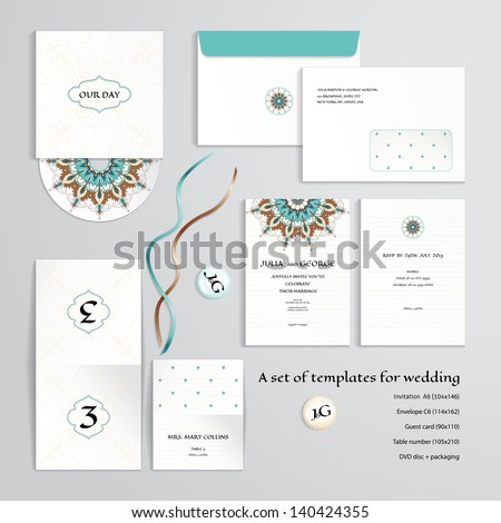 Vector templates to design a wedding. Oriental floral pattern on vintage background. Invitation, envelope, guest card, table number, discs with packaging, magnets and tapes. Dimensions are given. - stock vector