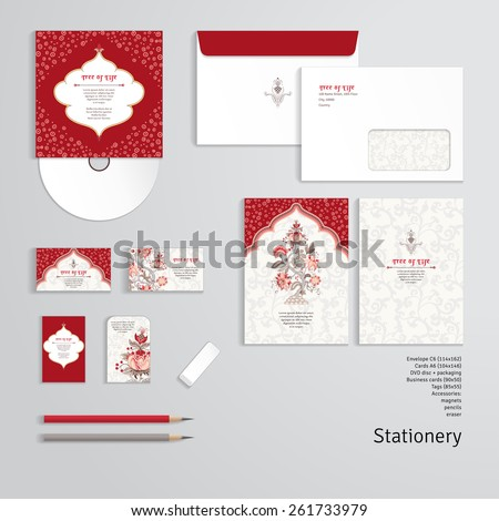 Vector templates. Tree of Life and beautiful indian decorative frame. Motives of the paintings of ancient Indian fabrics. Envelope, cards, business cards, tags, disc with packaging, pencils, eraser. - stock vector
