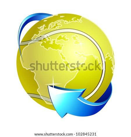 Vector tennis around the world icon .  World  globe . - stock vector