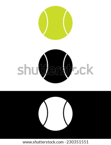 Vector tennis ball set in color, black and reverse - stock vector