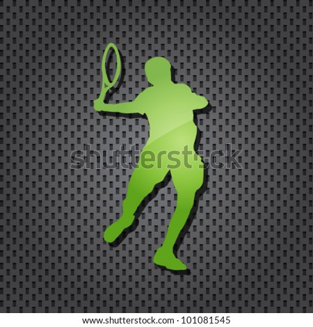 vector tennis player blue icon on textured background - stock vector