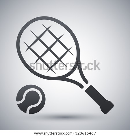 Vector tennis racket and tennis ball icon - stock vector