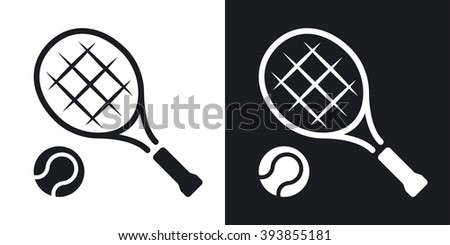 Vector tennis racket and tennis ball icon. Two-tone version on black and white background - stock vector
