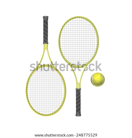 Vector Tennis Rackets with Ball Isolated on White Background - stock vector