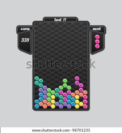 Vector tetris block game interface - stock vector