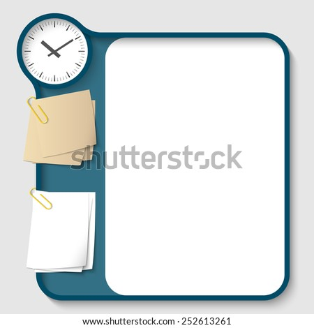 vector text frames for any text with two paper clips and watches - stock vector