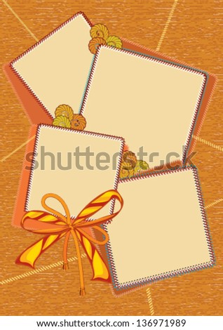 Vector textile background with frames and bow of ribbon