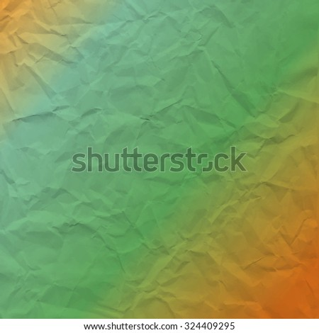 Vector texture of crumpled paper. Background gradient of brown and turquoise paper. Textured wallpaper. Use for label, card, banner, retro style etc. Eps 10 vector file. - stock vector