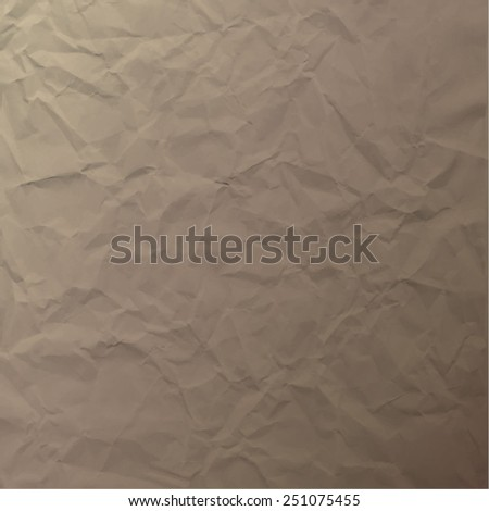 Vector texture of crumpled paper. Background paper. Textured wallpaper. Color brown. Use for antique, retro, vintage, old, rustic style too. Eps 10 vector file.  - stock vector