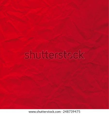 Vector texture of crumpled paper. Background paper. Textured wallpaper. Color red. Use for label, card, banner etc. Eps 10 vector file.  - stock vector