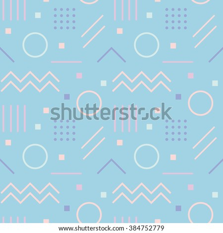 Vector texture of geometric colorful shapes. Geometric figures pattern in modern hipster style. Nice abstract background with geometrical figures in flat style and pastel colors. - stock vector
