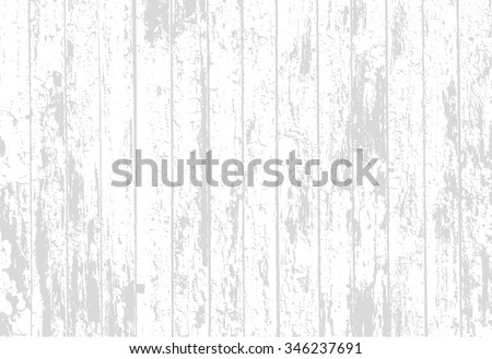 Vector texture of realistic bright white old painted wooden fence. Vector illustration - stock vector