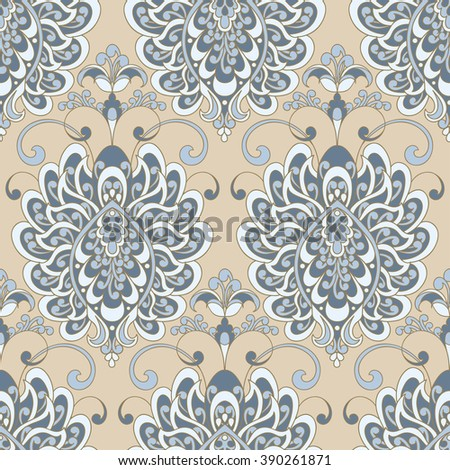 Vector textured print. Damask Seamless vintage pattern. Can be used for wallpaper, fabric, invitation