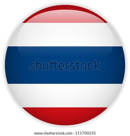 Vector - Thailand Flag Glossy Button - stock vector