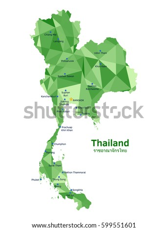 Vector Thailand map with some of its largest and most populated cities