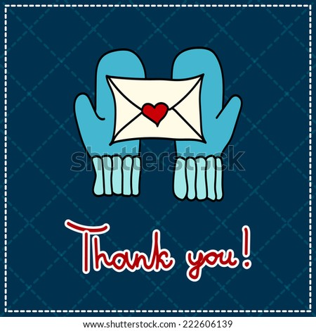 vector thank you card with mittens and a letter on a dark background - stock vector
