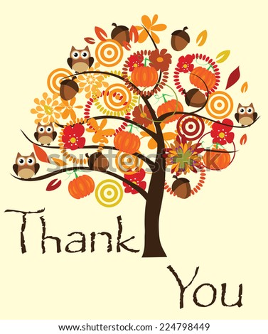 vector thank you card with tree, pumpkins, owls, acorns - stock vector