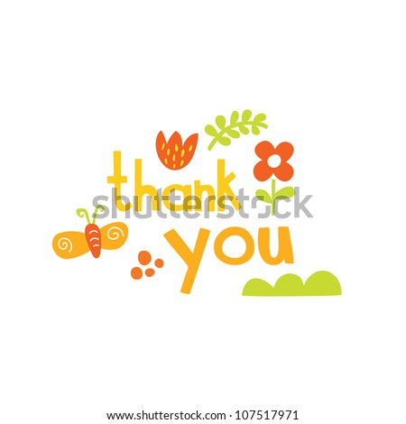 Vector Thank you script greeting card with cute floral elements. - stock vector