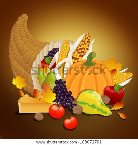 Vector Thanksgiving cornucopia with vegetables, and traditional elements of Thanksgiving - stock vector