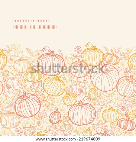 Vector thanksgiving line art pumkins horizontal frame seamless pattern background - stock vector