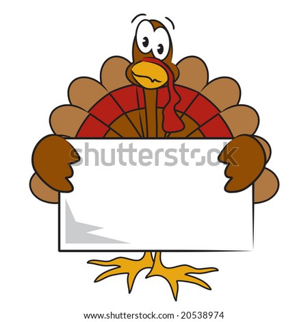 Vector Thanksgiving turkey holding sign you can personalize with your text