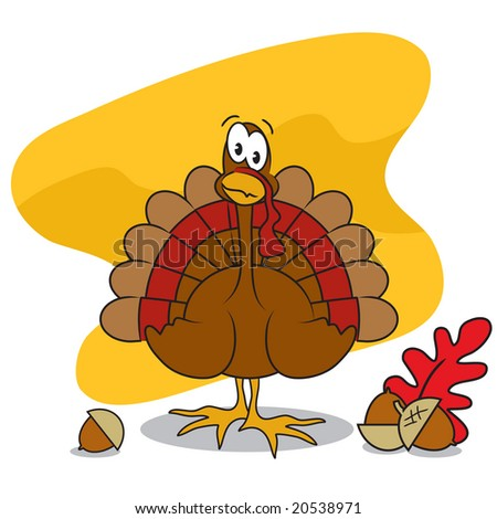Vector Thanksgiving turkey with acorns and leaf - stock vector