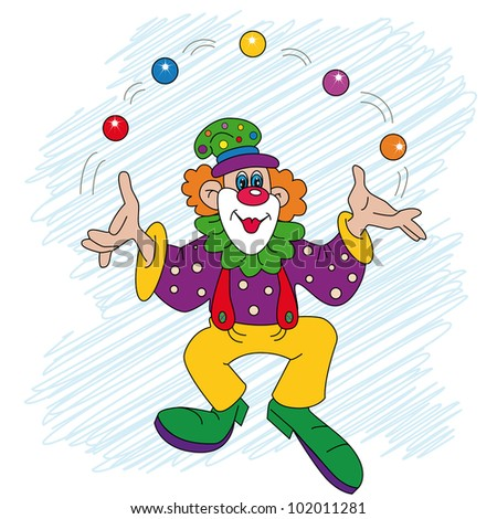 vector; the cheerful clown juggles with balls