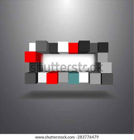 Vector,The 3 dimensions colorful boxes align to random style, blank space for put your text  - stock vector