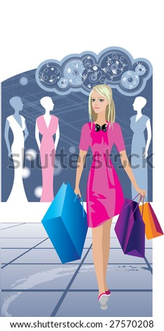 Vector. The girl committed purchases - stock vector