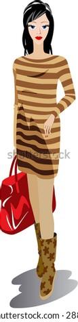 Vector. The girl has a bag - stock vector