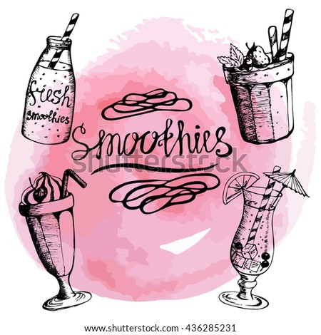 Vector. The inscription and four objects smoothie on watercolor background. Lettering . Hand drawing. Fruity summer cocktails. set. Pink. tender - stock vector
